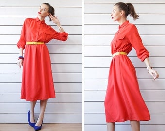 JOBIS vintage bright red thin wool over the knee length long sleeve day midi dress
