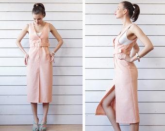 Finnish vintage salmon pink orange slim fit over the knee skirt pinafore midi dress XS S