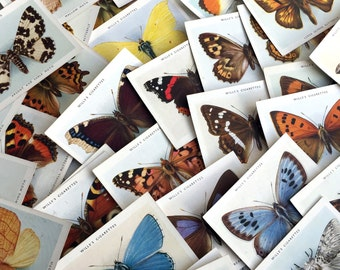 Vintage beautifully Illustrated large size Butterflies & Moths cigarette cards. 1938. Random selection of 30 cards, some duplicates.