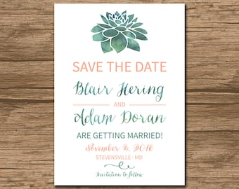 Succulent Save the Date, Save Our Date, Wedding Announcement - PRINTABLE file - garden wedding, rustic wedding, kraft paper - Sonja