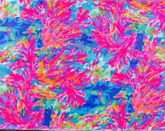 PALM BEACH CORAL l  9 X 18 inches or 18 X 18 inches cotton dobby  ~Lilly Pulitzer~