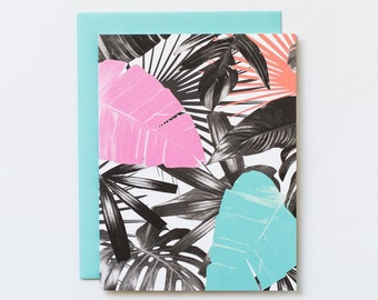 SALE Palm frond card, tropical card, blank note card, palm tree greeting card, card for her, florida card, miami beach card color block card