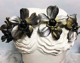 Black gold silver Orchid Crown, Orchid Headband, Orchid Headpiece fairy Orchid Flower Crown black fairy headband fairy headband fairy bride