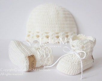 Crochet baby set, unisex newborn set, baby girl, newborn booties, hat, merino wool, cashmere, silk, baby shoes, gift idea, baby shower gift