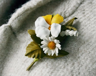 Summer Bouquet Leather Flowers Brooch Daisy Pansy May-lily