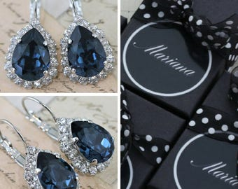 Navy Blue Bridesmaid Earrings Set of 3 4 5 6 7 8 9 10 Pairs Bridal Party Gift Personalized Pear Tear Swarovski Crystal Also Avail As Clip On