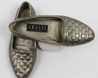 Vintage Metallic Silver Woven Amalfi Flat Loafer Women's Size 6 36 37 Made in Italy