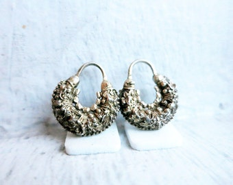Antique Small Creolla Criolla Earrings in Silver Gold Plated Finish from the Philippines