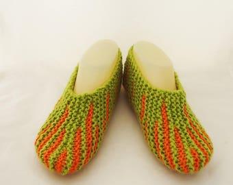 Handknitted Indoor Women Slippers, Short Socks, Striped Slippers, Home Slippers, Slippers in Olive Green and Orange, Women Short Socks
