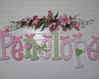 """Penelope - 12.00 PER LETTER Girl's name, 9"""" - 6 1/2"""" wood letters whimsical font, butterfly print, hot pink, lime green, light pink, flowers"""