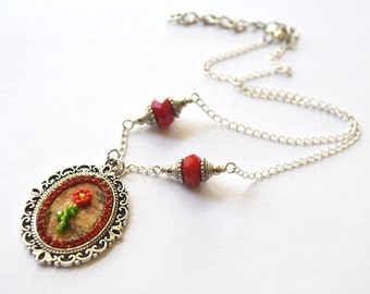 New Price- Birch Bark Beaded Flower Necklace Collection- Red