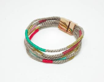 multicolor and  gold rope cuff bracelet