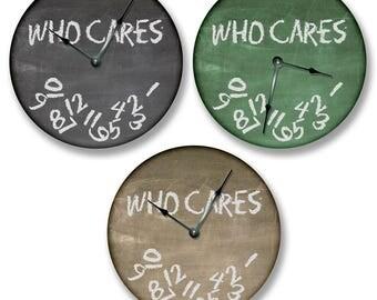 "WHO CARES Wall Clock - Chalkboard Clock - Large 10.5"" Wall Clock - Round Wall Clock - Unique Wall Clock - Classroom Clock"