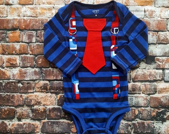 Ready To Ship - Baby Boy Bodysuit - Tie and Suspender.  Size 24 Months