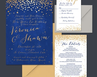 Blue and Gold Wedding Invitation Suite, wedding celebration, new year's wedding, DIY wedding Invitations, custom design