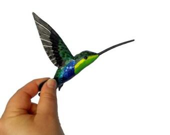 Hummingbird Art Paper mache  Bird sculpture Colibrì Ornament bird