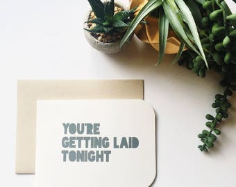 Funny card for husband on fathers day, dad card, Funny Card, you're getting laid tonight Greeting Cards, Fathers Day Gift,