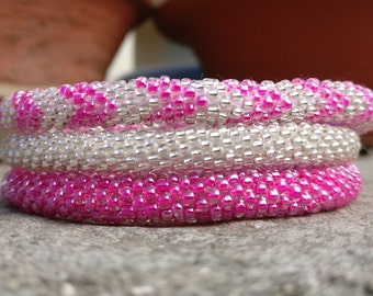 Neon Pink and Silver Chevron Set of Crocheted Seed Beads Bracelets, Handmade in Nepal, Rope Style, Boho, Rollin Your Wrist