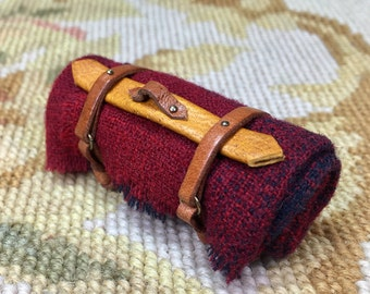 DOLLHOUSE MINIATURE - Blanket Roll Red Wool Plaid - by Pat Tyler Leather Miniatures