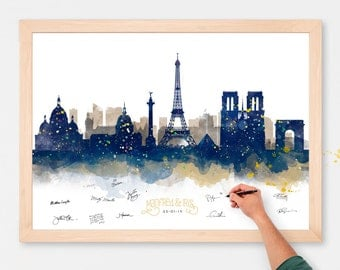 Wedding Guest Book Alternative Watercolor Paris Skyline Poster -  Add Quote, Date - Wedding Decor - Personalized Guest Book