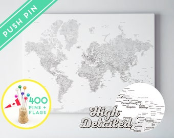 Push Pin World Map Canvas Watercolor Grey - Ready to Hang - High Detailed - 240 Pins + 198 World Flag Sticker Pack Included
