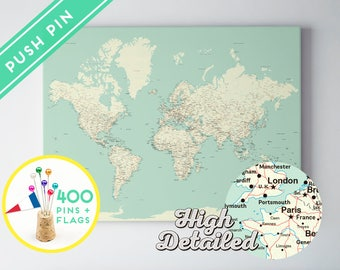 Push Pin World Map Canvas Classic Design - Ready to Hang - High Detailed - 240 Pins + 198 World Flag Sticker Pack Included