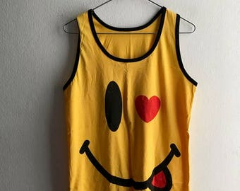 Happy Face Rave Summertime Have a nice day tank top M