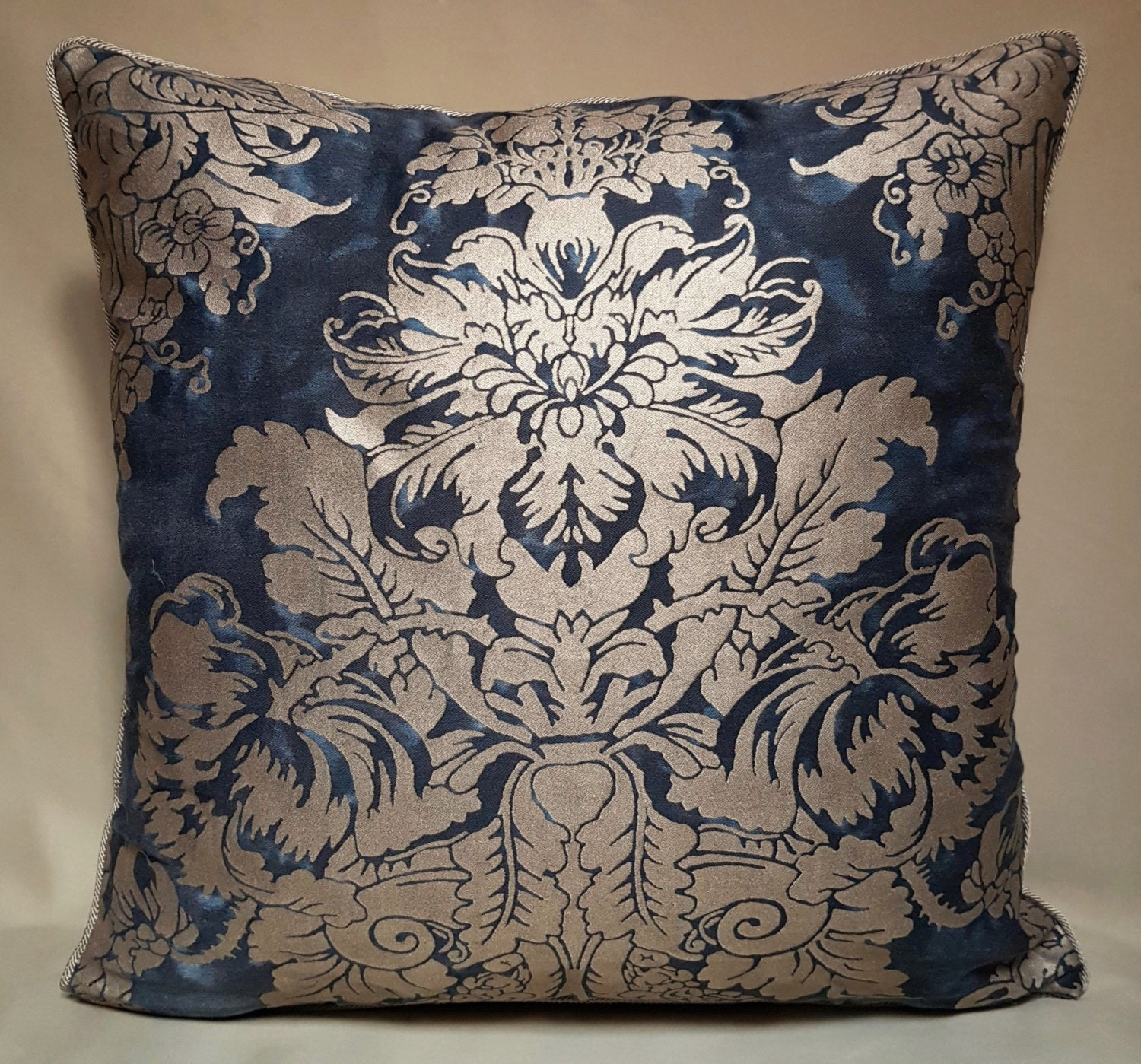 Throw Pillow Cushion Cover Fortuny Fabric Midnight Blue