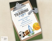 Sports Training Camp Invitation for Kid's Birthday Party - Any Age - Customized Printable File