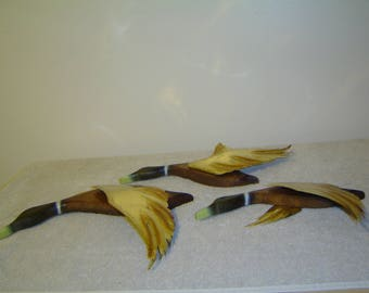 Set of 3 Wall Hanging Flying Ducks Geese, Vintage Mid Century Modern, Wood and Metal Art Decor