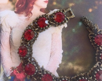 HOLIDAY SAVINGS Vintage Red Bracelet Victorian Revival Czech Bridal Jewelry