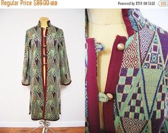 Bringing Home Baby SALE: Vintage 60s Geometric Print Sweater Coat Jacket Flared Sleeves Knit Retro Clothing