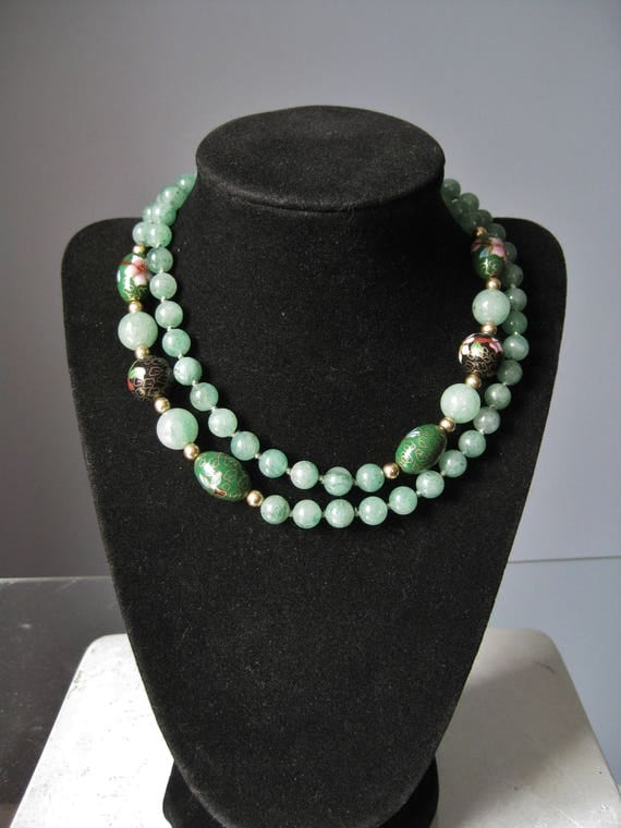 Jade and Cloisonne Necklace / Vtg / Apple Green Jade with Cloisonne beads