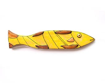 Abstract Ceramic Fish,  Wall Hanging Fish, Nautical home decor, Animal Sculpture of fish, Colorful fish, Yelow fish