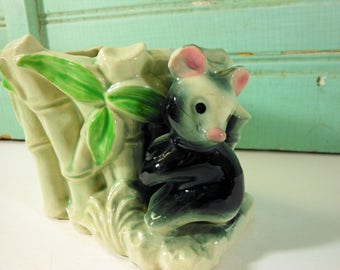 Vintage Pale Green Planter with Bamboo and Panda Bear, Made in Japan