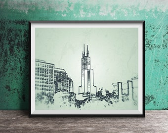 Chicago art photography print - Sears Tower sketch outline