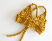 Boho Baby Bikini Top - Knit Bikini top for baby girl in mustard yellow - Bohemian Baby - Toddler Bikini