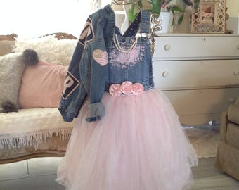 Pink party dress little girls tutu denim