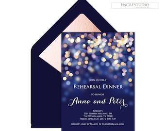 Night Sky, Under the Stars, Navy and Gold Bokeh Rehearsal Dinner Invitation