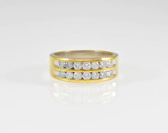 Vintage, 14K, Gold, Yellow Gold, Anniversary Band, Round Cut Diamonds, Double Row, Ring