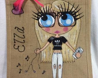 Handpainted Personalised Girls Jute Ballet Bridesmaid Handbag Gift Party Bag Celebrity Style