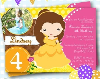 Belle Invitation, Beauty and the Beast Invitation, Princess Belle Invitations, Belle Party Invites, Princess Belle Invitations - P47