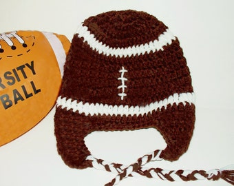 Crocheted Baby Football Earflap Hat - Superbowl, Brown, Sports