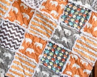 Baby rag quilt, homemade rag quilt, orange rag quilt, baby boy rag quilt, elephant rag quilt, baby shower gift, gray rag quilt,  boy quilt
