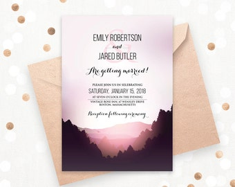 Wedding Mountain Invitation Printable Landscape Wedding, Lilac & Pink Pine Trees Forest Wedding Invites, DOWNLOAD Editable Digital Template