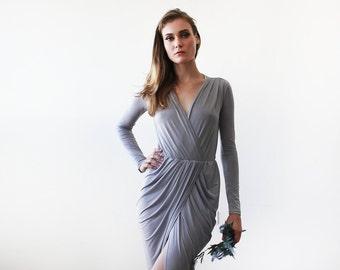 Light grey tulip wrap long sleeves dress, Long sleeves wrap grey gown 1034