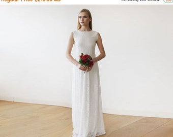 Spring Sale Sleeveless Ivory Floral lace Bridal Gown With Open Back 1147