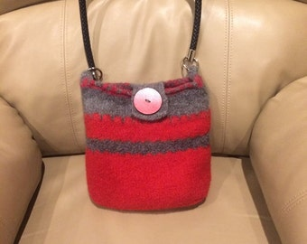 Red  and Gray Felted Wool Purse