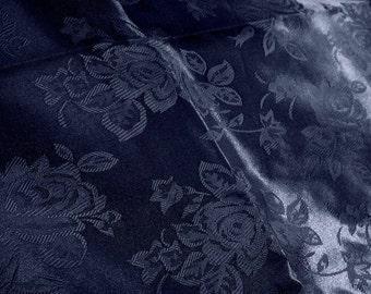 Brocade Jacquard Satin Navy 60 Inch Fabric by the Yard - 1 yard