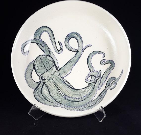 """Octopus Pasta Porcelain Bowl 10"""""""